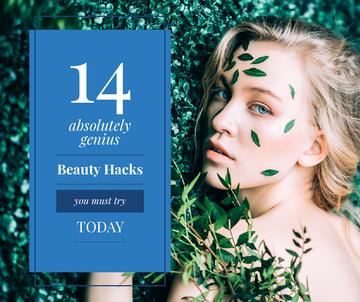 Beauty Hacks with Woman in Green Leaves