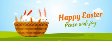 Cartoon Easter bunnies in basket