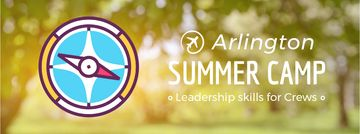 Summer camp promotion Rotating compass arrows