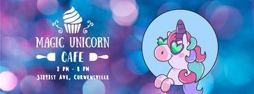 Funny cute unicorn for cafe ad