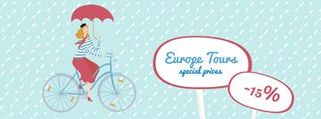 Woman riding in bike with umbrella