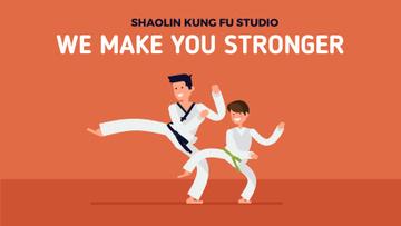 Martial Arts School Boy Training with Coach