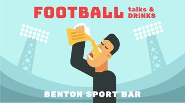 Sport Bar Invitation Man Drinking Beer at Stadium