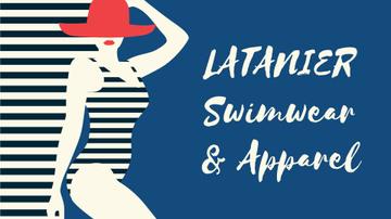 Swimwear Offer Woman in Striped Swimsuit