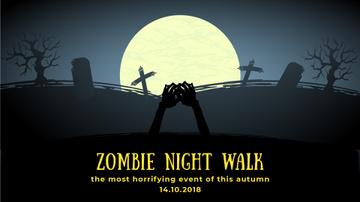 Spooky Event Invitation Zombie on Graveyard
