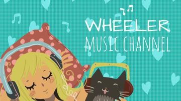 Music Listening Girl and Cat in Headphones