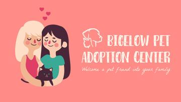 Pet Adoption Ad Two Girls Hugging Cat
