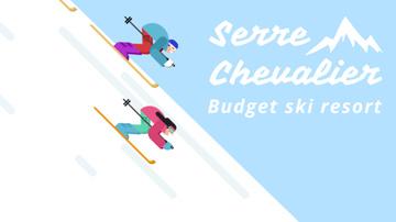 Ski Resort Skiers on a Snowy Slope
