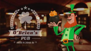 Saint Patrick's Leprechaun with Coins in Pub