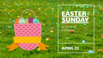 Easter Invitation Basket with Colored Eggs