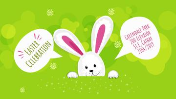 Easter Invitation Cute Bunny on Green