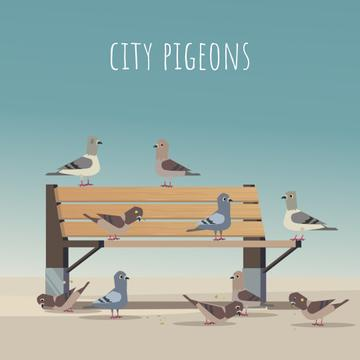 Pigeons pecking grain on a bench