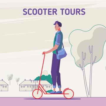 Man riding kick scooter