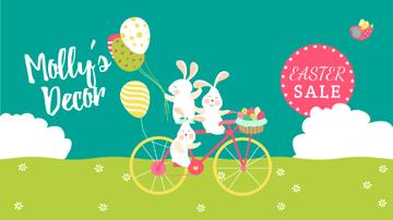 Easter Sale Bunnies on Bicycle with Colored Eggs