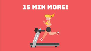 Girl Running on Treadmill in Red