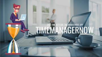 Time Management Concept Businessman on Hourglass