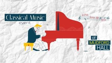 Concert Invitation Musician Playing Piano