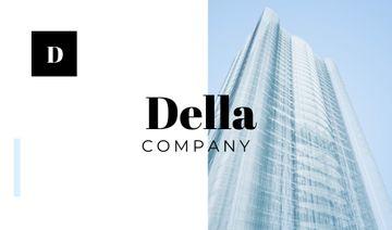 Building Company Ad with Glass Skyscraper in Blue