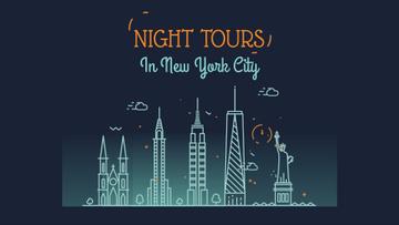 New York Night Futuristic City Lights