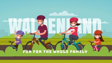 Smiling Family on a Bicycle Ride