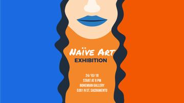 Exhibition Announcement Simple Drawing of Woman
