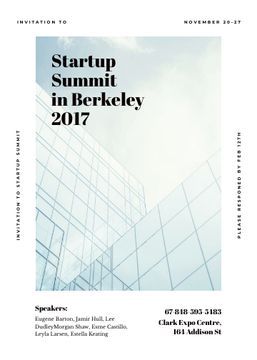 Startup summit announcement on Modern glass building