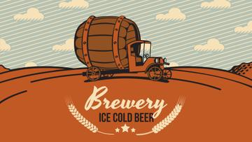 Brewery Ad Car Delivering Large Barrel