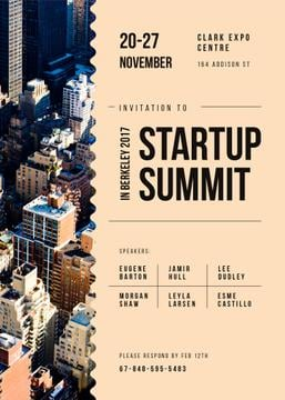 Startup Summit ad on modern city buildings