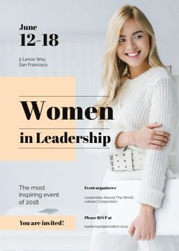 Confident smiling woman at Leadership event