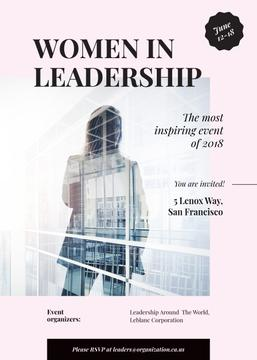 Leadership event ad with Businesswoman and building