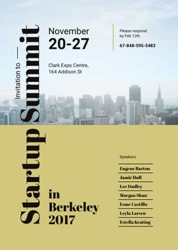 Startup Summit ad with modern city buildings