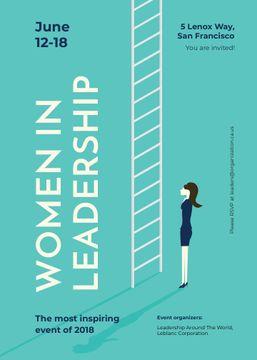 Businesswoman standing by ladder