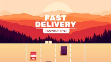 Delivery Service Cars and Trucks on Road
