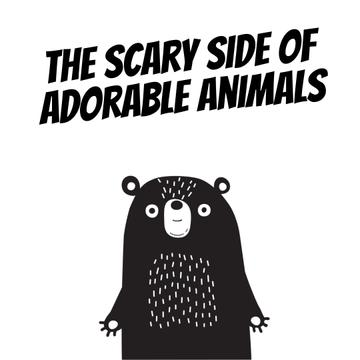 Adorable Scary cartoon Bear