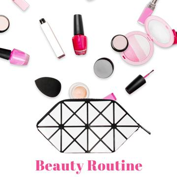 Beauty products filling cosmetic bag