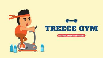 Gym Ticket Offer Man Training on Spinning Bike