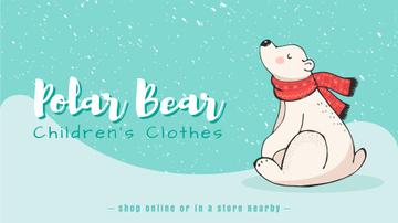 Polar Bear in Scarf Sitting Under Snow