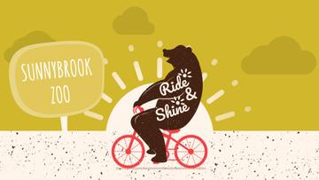 Zoo Invitation Bear Riding Bicycle