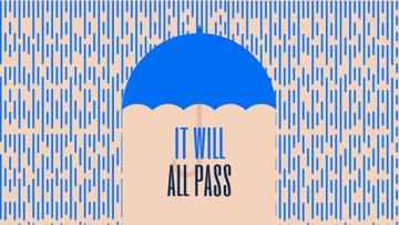 Inspiration Quote Blue Umbrella Under Falling Rain