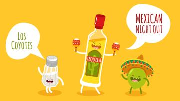 Mexican Party Dancing Tequila, Lime and Salt Characters