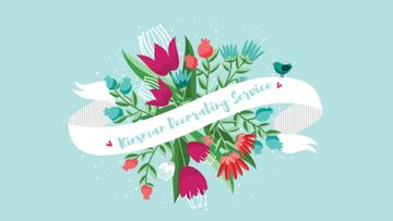 Greeting Ribbon with Flowers and Bird