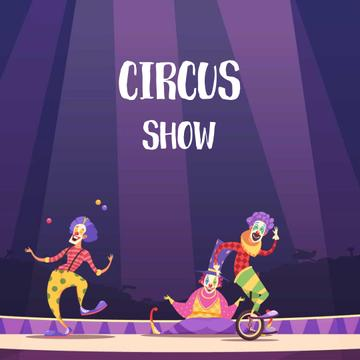 Clowns on circus arena