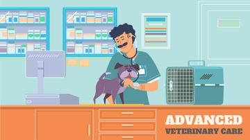 Vet Clinic Ad Doctor Taking Care of Dog