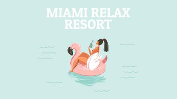 Resort Invitation Woman on Flamingo Floating Ring