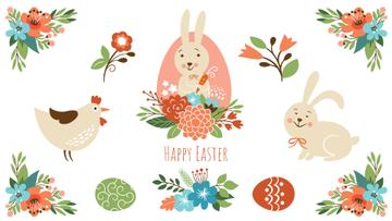 Easter Greeting Bunny with Chicken and Flowers