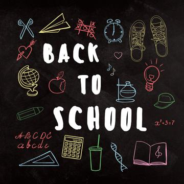 Back to school with Bright education and sciences icons