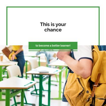 Education Quote Student with Backpack in Classroom