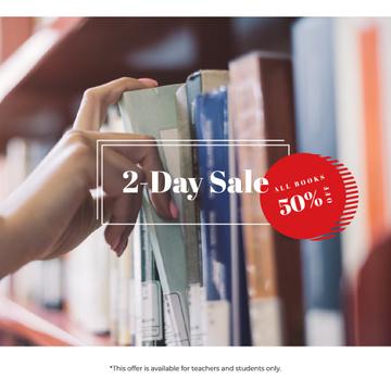 Bookshop Offer Woman choosing Book on Shelf
