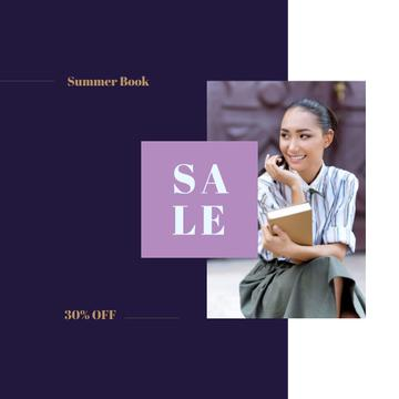 Sale Announcement Female Student Holding Book
