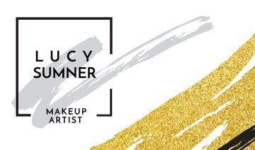 Makeup Artist Ad with Golden Paint Smudges